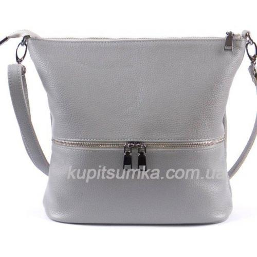 Удобная женская сумка из натуральной мягкой кожи серого цвета
