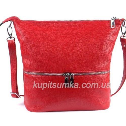 Удобная женская сумка из натуральной мягкой кожи вишнёвого цвета