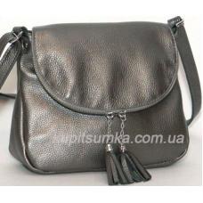 Женская кожаная сумка кросс - боди цвета никель