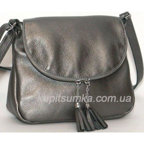 Женская кожаная сумка кросс - боди графитовый 19BP-53