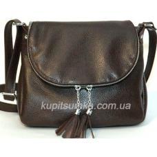 Женская кожаная сумка кросс - боди цвета шоколад