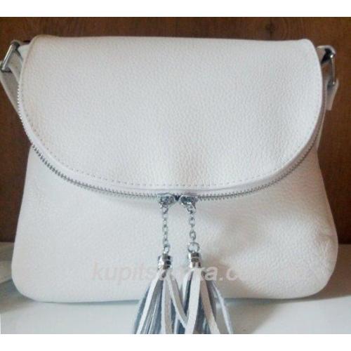 Женская кожаная сумка кросс-боди белая с кисточками