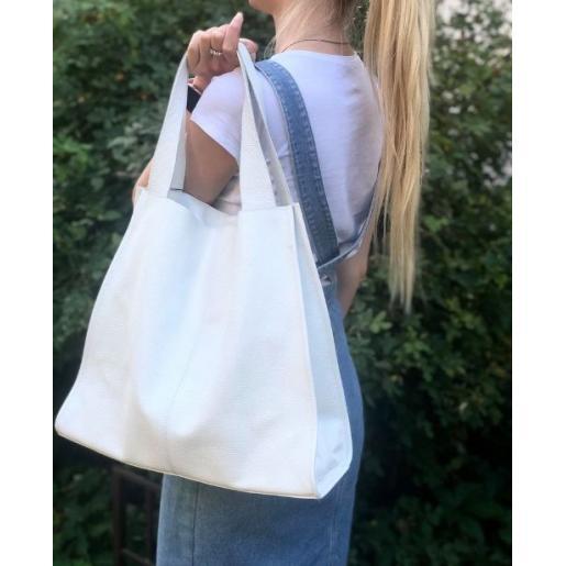 Кожаная женская сумка шоппер 12-6PB Белый