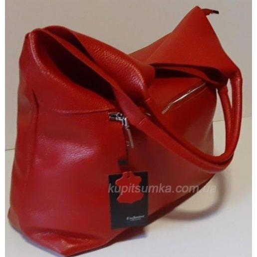 Объемная кожаная женская сумка 48B Вишневый
