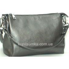 Женская сумка из натуральной мягкой кожи на три отделения цвета никель