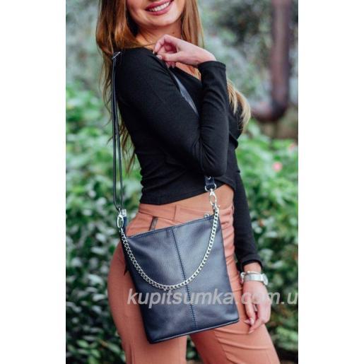 Комфортная сумка в стиле планшета из натуральной мягкой кожи серого цвета