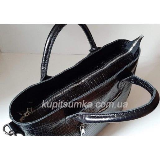 Элегантная кожаная сумка с тиснением Черный