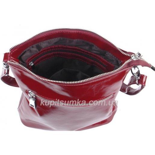 Комфортная сумка в стиле планшета из натуральной мягкой кожи бордового цвета
