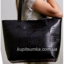 Женская сумка шоппер из кожи 03PB-1 Черный