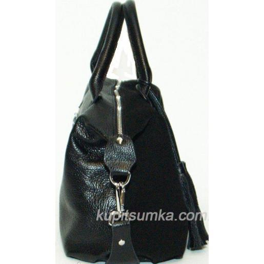 Женская сумка из замши и кожи черная 20B-1