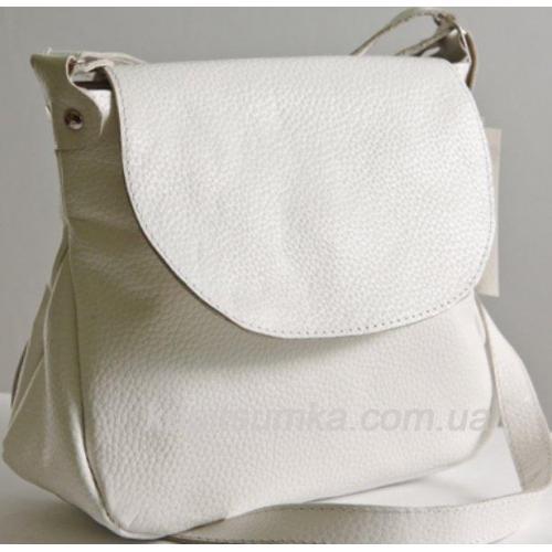 Женская сумка из натуральной кожи бело-молочного цвета