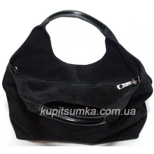 Женская замшевая сумка Хобо 15-1PB Черный