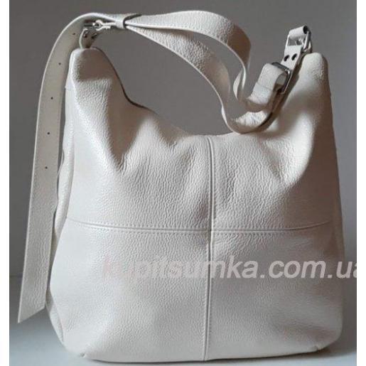 Кожаная женская сумка 14PB-1 Бежевый