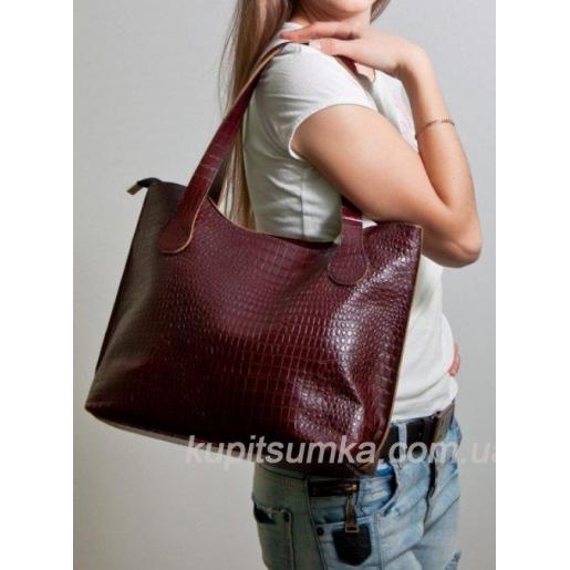Женская кожаная сумка из натуральной кожи Коричневый