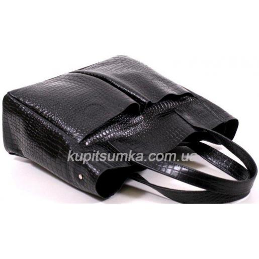 Женская кожаная сумка с тиснением 02PB20 Черный