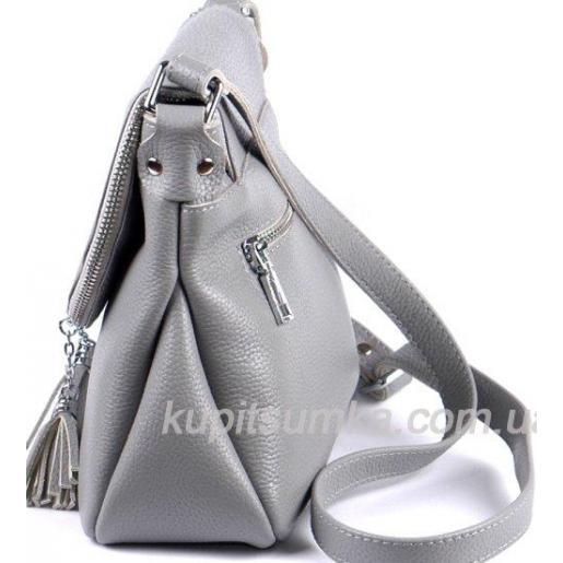 Женская кожаная сумка кросс - боди серого цвета