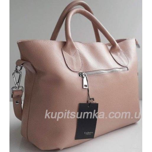 Привлекательная женская сумка из высококачественной натуральной кожи цвета пудры