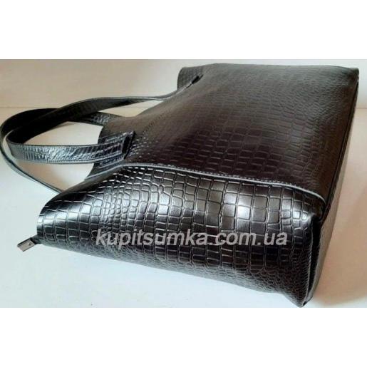 Вместительная сумка шоппер из натуральной тисненной кожи черного цвета