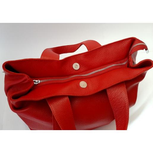 Кожаная женская сумка красная VP56-2