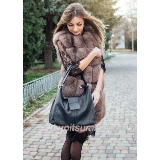 Кожаная женская сумка PB39-1 Черный