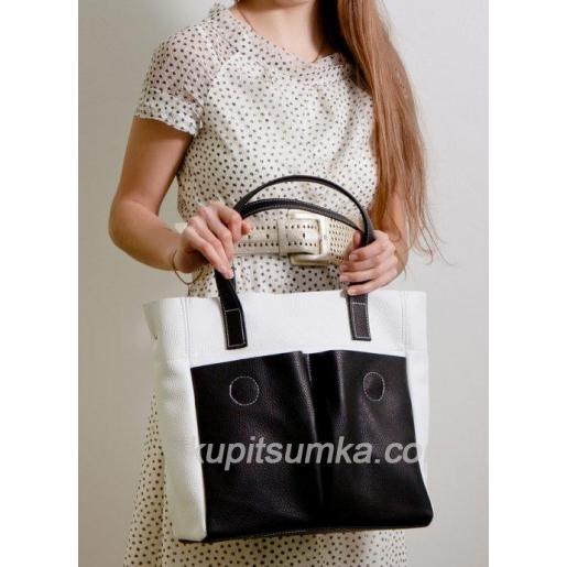 Женская кожаная сумка шоппер 02PB-14 Белый