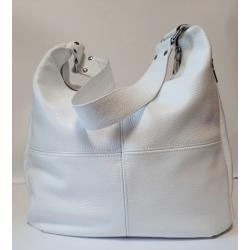 Женская кожаная сумка хобо белая 14N-23
