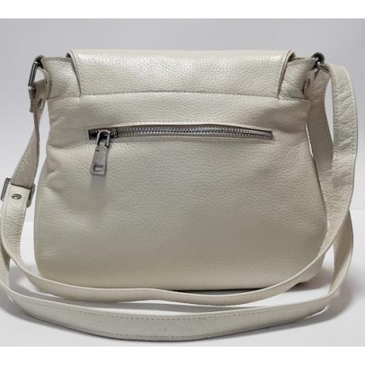 Женская кожаная сумка кросс  боди бежевая PV19-46