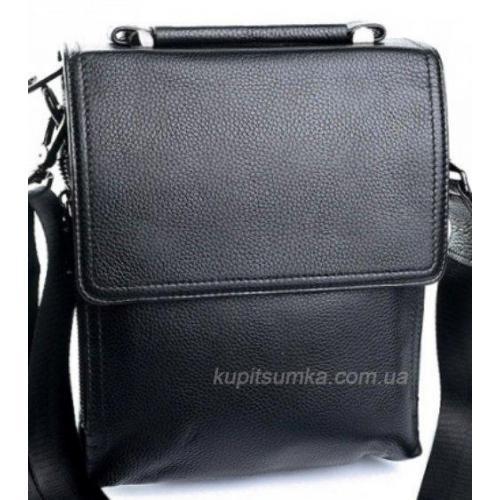 Мужская кожаная сумка с ручкой чёрного цвета