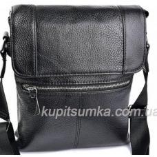 Мужская кожаная сумка чёрного цвета на два отделения