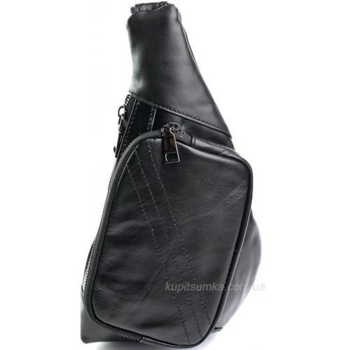 Мужская сумка на одно плечо из натуральной кожи чёрного цвета