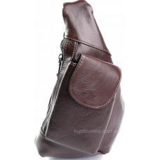 Мужская сумка с передним карманом из натуральной кожи коричневого цвета