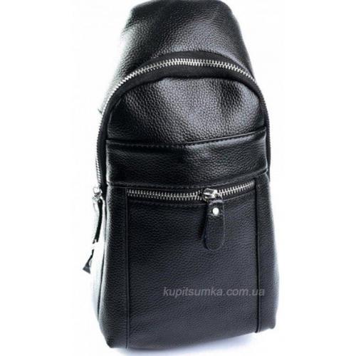 Повседневная мужская кожаная сумка черного цвета
