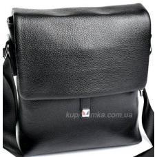 Повседневная мужская сумка из кожи черного цвета