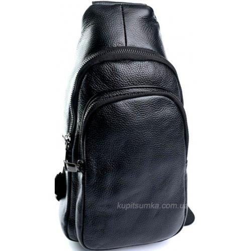 Практичная мужская сумка из кожи чёрного цвета