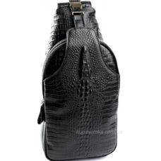 Современная мужская сумка с тисненой натуральной кожи черного цвета