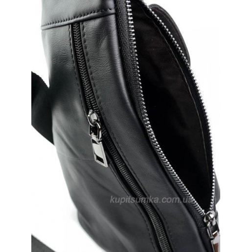 Мужская сумка с передним карманом из натуральной кожи чёрного цвета