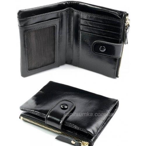 Женский кожаный кошелек черного цвета 60D19
