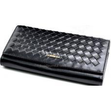 Женский кожаный кошелек черного цвета с интересным переплетением