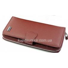 Женский кожаный кошелёк красного цвета с монетницей на молнии