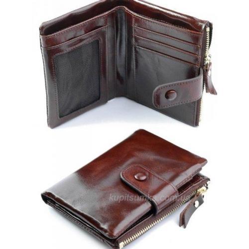 Женский кошелек в винтажном стиле кофейного цвета из натуральной кожи