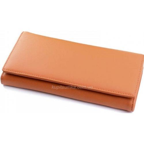 Женский кошелек из желтой кожи с внешней монетницей