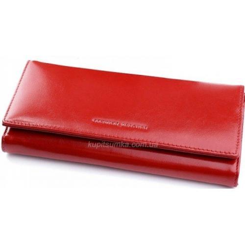 Женский кошелек из кожи красного цвета с внешней монетницей