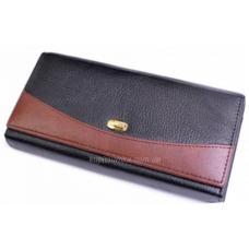 Женский кошелек из комбинированной кожи черного цвета с внутренней монетницей