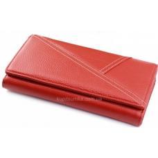 Женский кошелек из красной кожи с декоративной строчкой