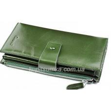 Интересный женский кошелёк из натуральной зеленой кожи