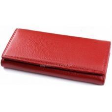 Классический красный кошелек из кожи с внутренней монетницей