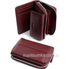 Компактный женский кошелёк из натуральной кожи Бордо