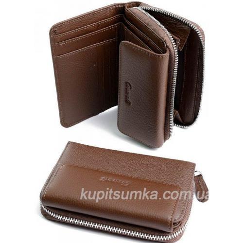 Компактный женский кошелёк из натуральной кожи Кофейный