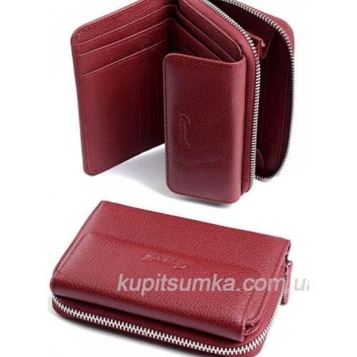 Компактный женский кошелёк из натуральной кожи Красный