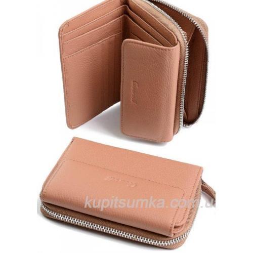 Компактный женский кошелёк из натуральной кожи Пудровый